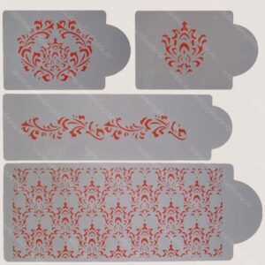 Set 4 sabloane damask