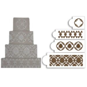 Set 4 sabloane damask regal