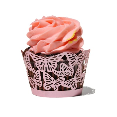 Invelitoare decorativa dantelata fluturasi roz